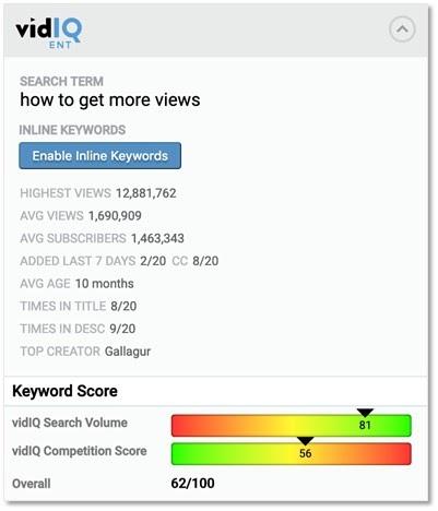 使用VidIQ 搜索關鍵字