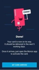 等待你的Monzo卡寄來