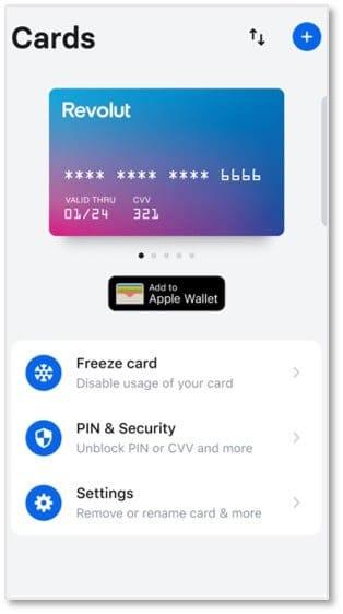 Revolut提供實體和虛擬預付卡