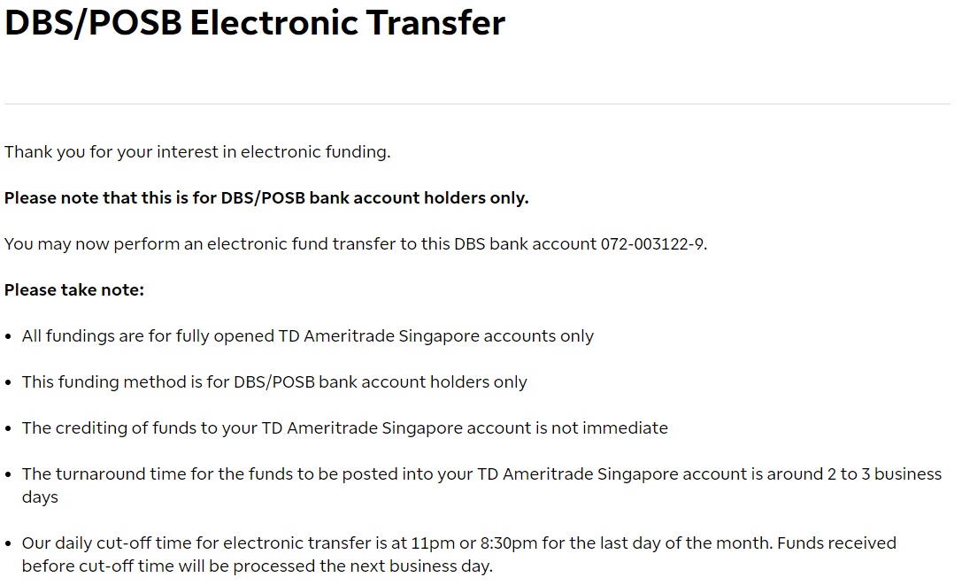 TD新加坡分行接受當地銀行轉賬