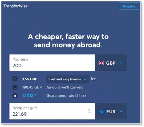 Transferwise的換匯費用和匯率