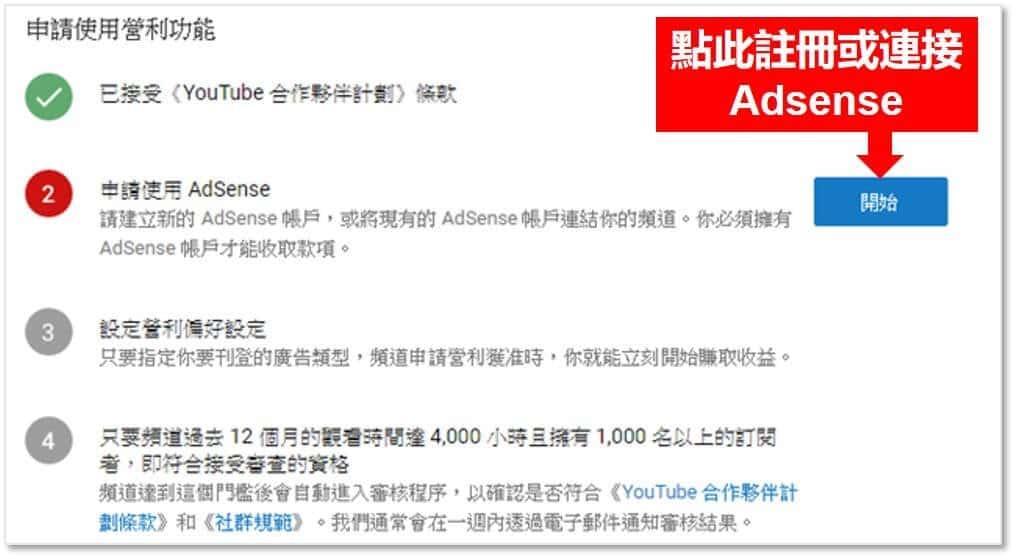 需申請Google Adsense才能開啟廣告營利