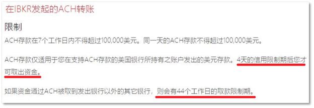 Interactive Brokers的ACH轉賬限制