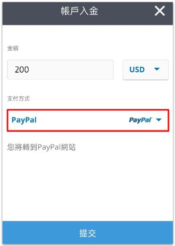 用Paypal入金到eToro