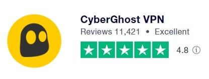 CyberGhost VPN在Trustpilot 上的評價