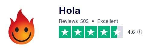 Hola 在TrustPilot 的評價