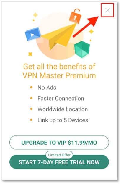 點擊『Start…』開始試用VPN Master付費版