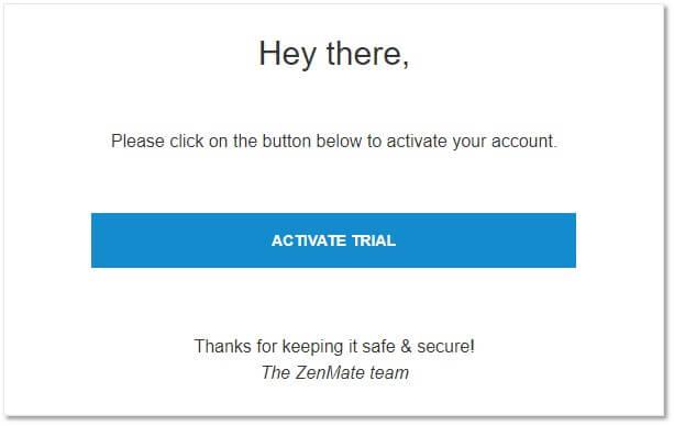 點擊『Activate Trial』激活ZenMate試用期