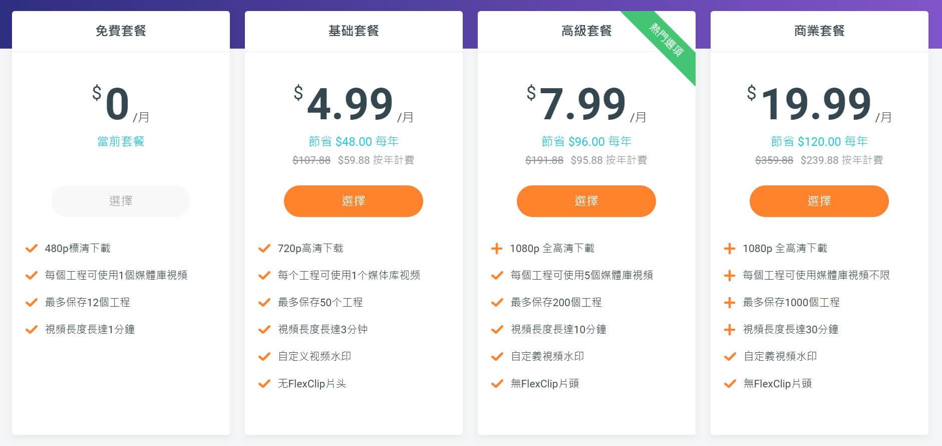 FlexClip 的付費方案