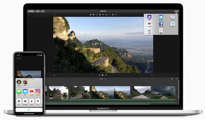 iMovie 可一鍵上傳