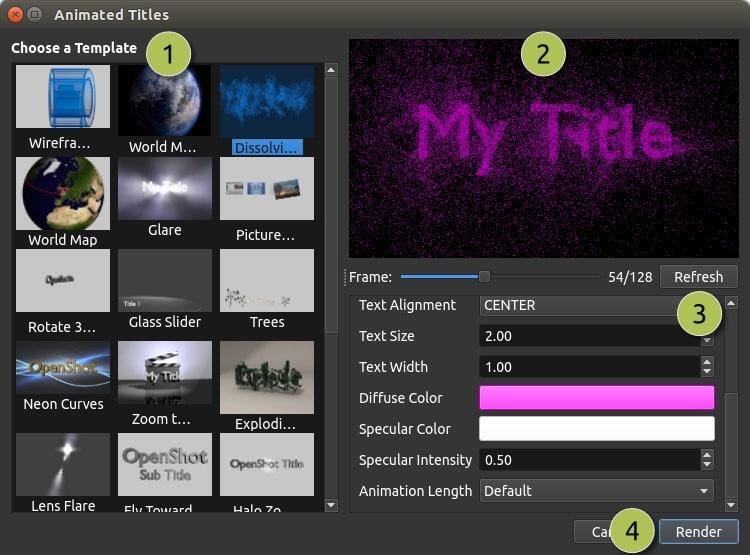 OpenShot 的預設3D模板