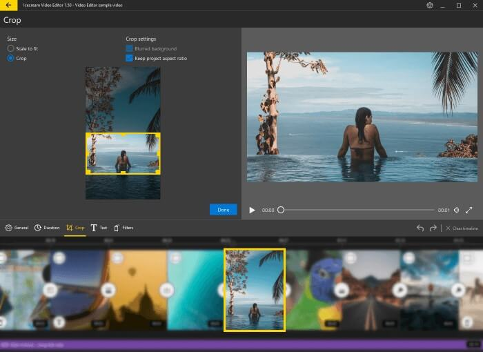 IceCream Video Editor的裁剪功能