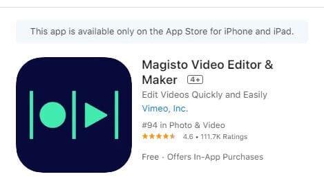 Magisto 在iOS商店的評分