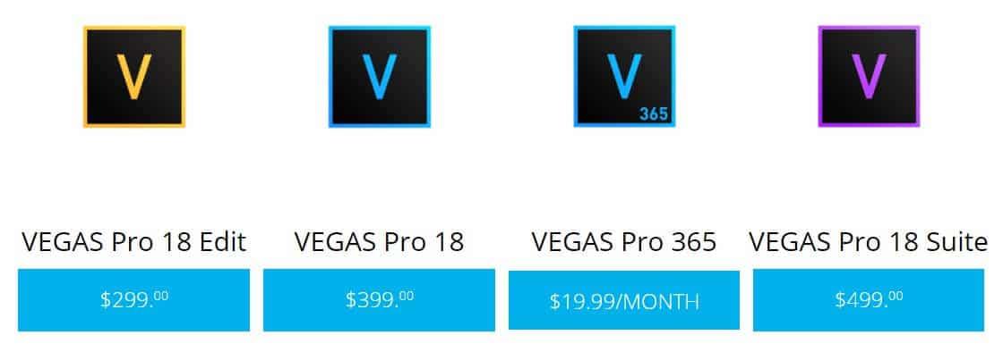 Vegas Pro 的付費方案