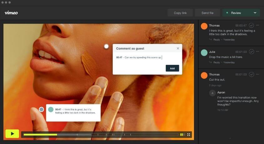 Vimeo Create 可多人實時協作