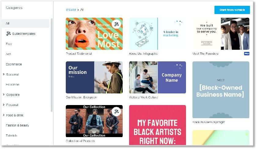 Vimeo Create 的預設模板