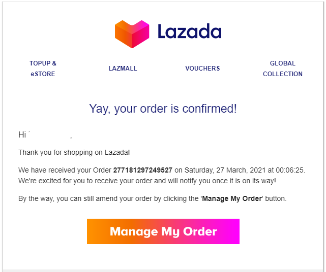 Lazada Order Confirmation
