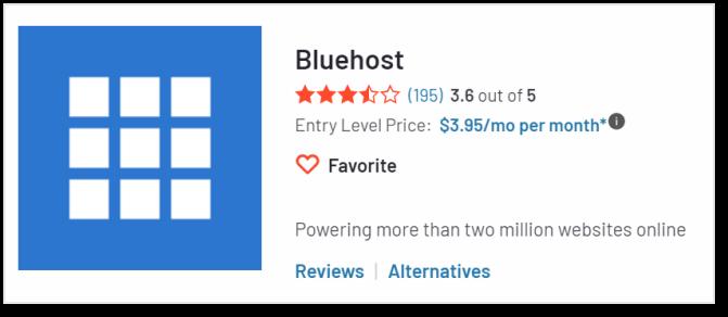 Bluehost 在G2上的評價