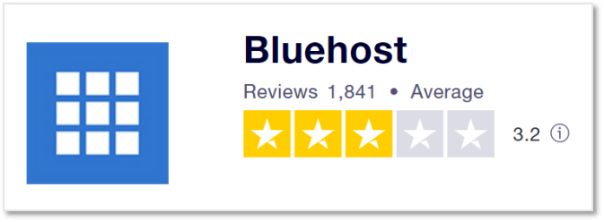 Bluehost 在Trustpilot 上的評價
