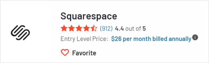 ↑ Squarespace 在G2上的評價